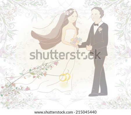 illustration of groom and bride with rings. Can be used as wedding card or invitation.  Vector - stock vector