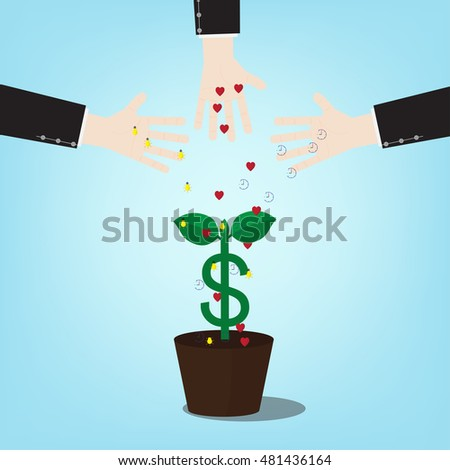 Illustration of investment require time to pay attention to ideas. with money tree . Vector design of a new seed invest project monetization with concept money plant growing.