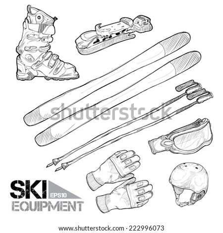 illustration of ski equipment, vector illustration