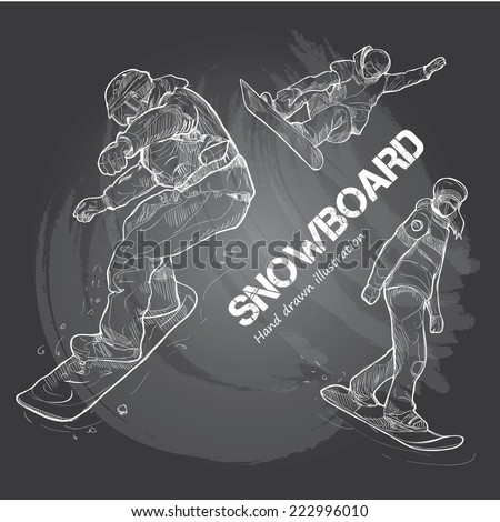 illustration of snowboard - stock vector