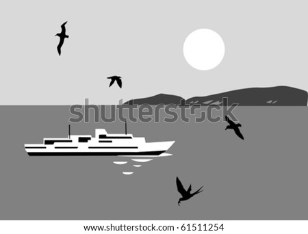 illustration of the sailboat seaborne - stock vector