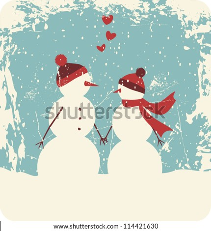 Illustration of two cute snowmen in love holding hands. - stock vector