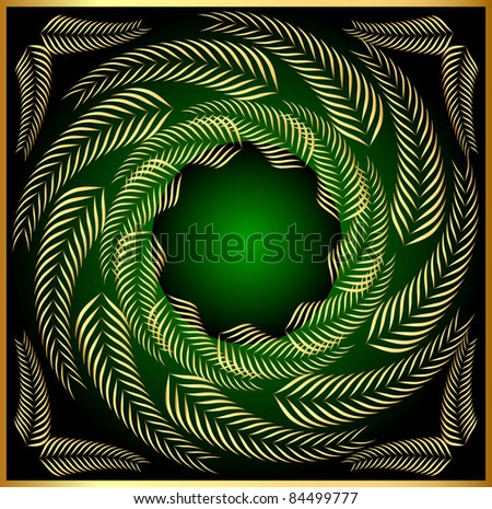 illustration pattern frame from gold sheet in circle - stock vector
