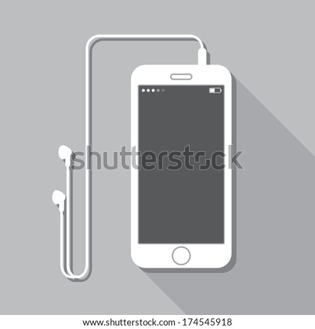 Illustration with a mobile phone. device in flat style with headphones and a long shadow - stock vector