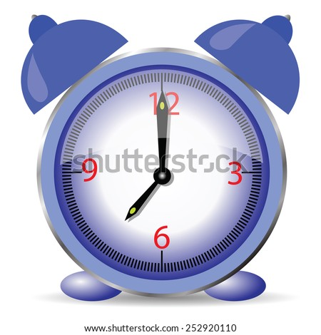 illustration  with blue alarm clock isolated on white background - stock vector