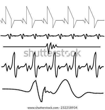 illustration with electrocardiogram set  on  white background - stock vector