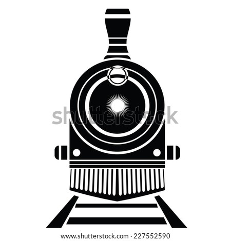 illustration with old train icon on a white background - stock vector