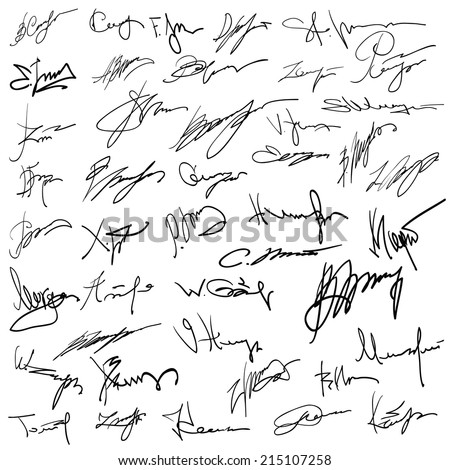 illustration with Set of autographs  on a white background - stock vector