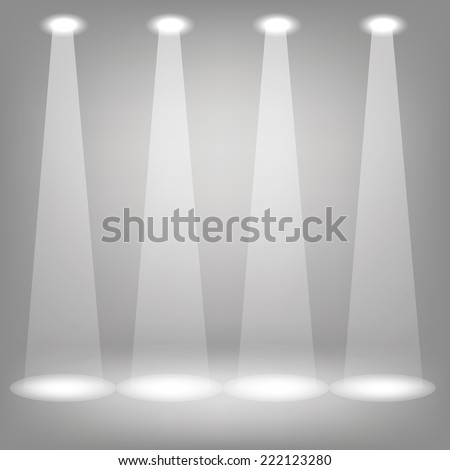 illustration with Stage spotlights on a gray background - stock vector