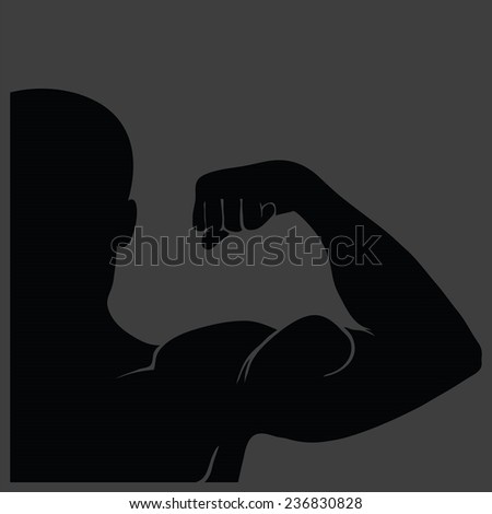 illustration  with strong man silhouette on grey background - stock vector