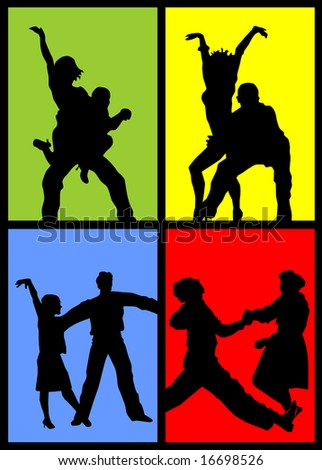4 Illustrations of dancing couples vector