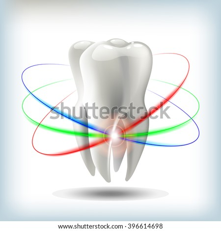 image tooth  3D vector illustration for dentistry - stock vector