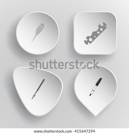4 images: awl, cycle spanner, ruling pen, ink. Angularly set. White concave buttons on gray background. Vector icons. - stock vector