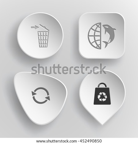 4 images: bin, globe and shamoo, recycle symbol, bag. Nature set. White concave buttons on gray background. Vector icons. - stock vector