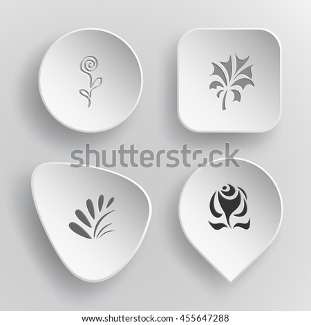 4 images: flower, plants, rose. Abstract set. White concave buttons on gray background. Vector icons. - stock vector