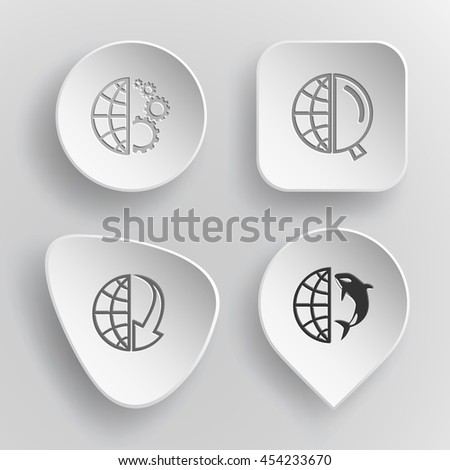 4 images: globe and gears, and magnifying glass, and array down, and shamoo. Globe set. White concave buttons on gray background. Vector icons. - stock vector