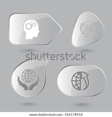 4 images: human brain, globe and clock, protection world, array up. Business set. Glass buttons on gray background. Vector icons. - stock vector