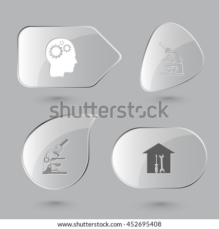 4 images: human brain, lab microscope, workshop. Tehnology set. Glass buttons on gray background. Vector icons. - stock vector