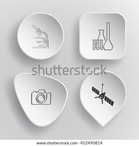 4 images: lab microscope, chemical test tubes, camera, spaceship. Tehnology set. White concave buttons on gray background. Vector icons. - stock vector