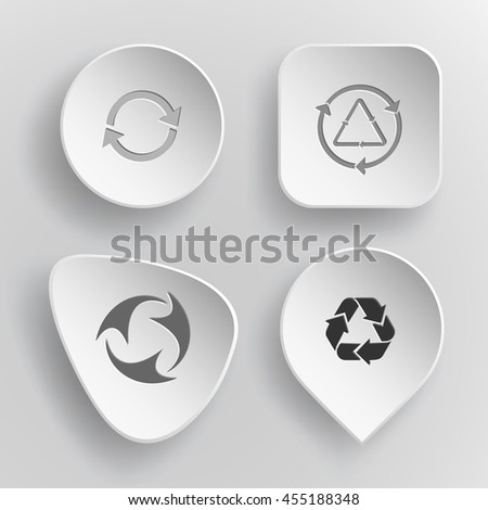 4 images of  recycle symbols. White concave buttons on gray background. Vector icons set. - stock vector