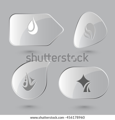 4 images of unique abstract forms. Glass buttons on gray background. Vector icons set. - stock vector