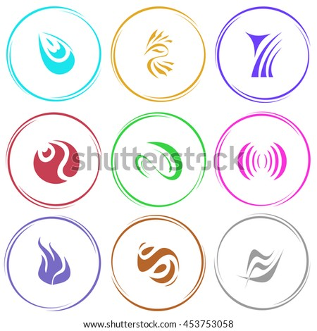 9 images of unique abstract forms. Internet templates. Vector icons set.