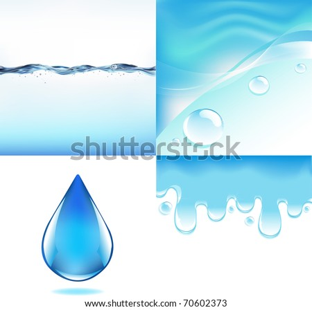 4 Images Of Water, Vector Illustration - stock vector