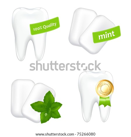 4 Images On Stomatology Theme, Isolated On White Background, Vector Illustration - stock vector