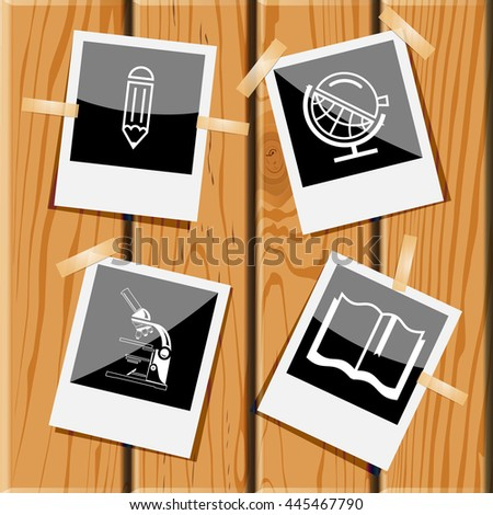 4 images: pencil, globe and loupe, lab microscope, book. Education set. Photo frames on wooden desk. Vector icons. - stock vector