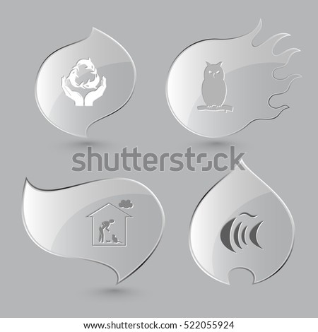 4 images: protection sea life, owl, home cat, fish. Animal set. Glass buttons on gray background. Fire theme. Vector icons.