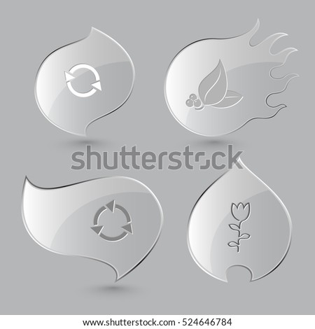 4 images: recycle symbol, leaf with berries, tulip. Nature set. Glass buttons on gray background. Fire theme. Vector icons.