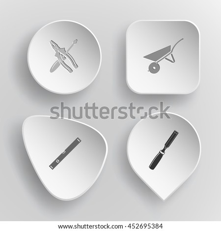 4 images: screwdriver and combination pliers, wheelbarrow, spirit level, chisel. Industrial tools set. White concave buttons on gray background. Vector icons. - stock vector