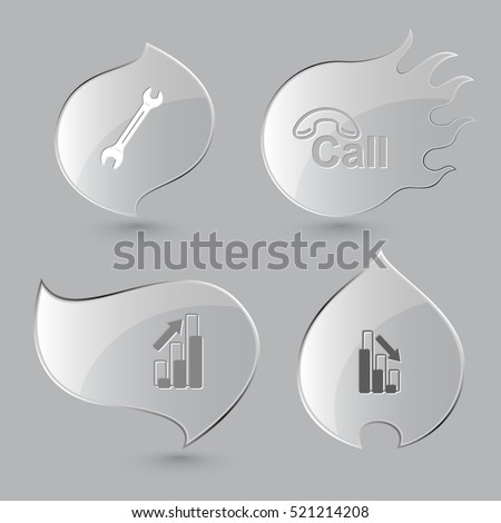 4 images: spanner, hotline, diagram, graph degress. Business set. Glass buttons on gray background. Fire theme. Vector icons.