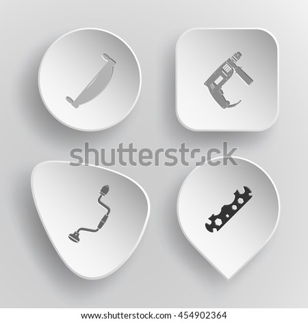 4 images: two-handled saw, electric, hand drill, cycle spanner. Industrial tools set. White concave buttons on gray background. Vector icons. - stock vector