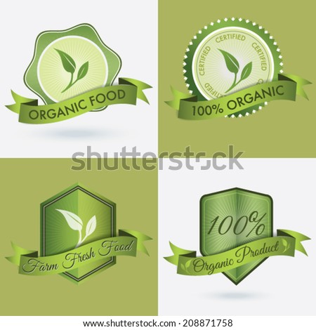 4 in 1 logo/badge or seal of Organic products and farm fresh food.