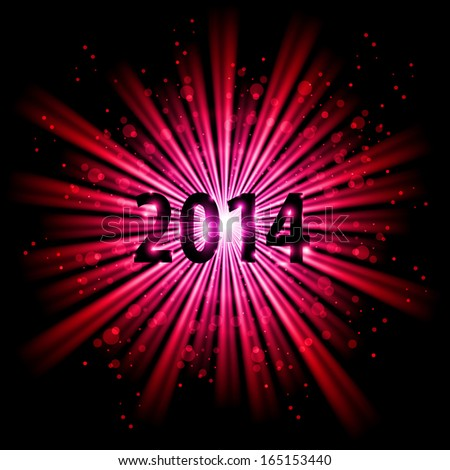 2014 in red light of bursting star with sparks. New Year card. - stock vector