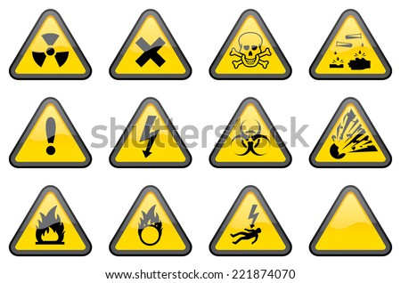 11 individually grouped glossy hazard warning signs, with one blank sign for your additions.  - stock vector