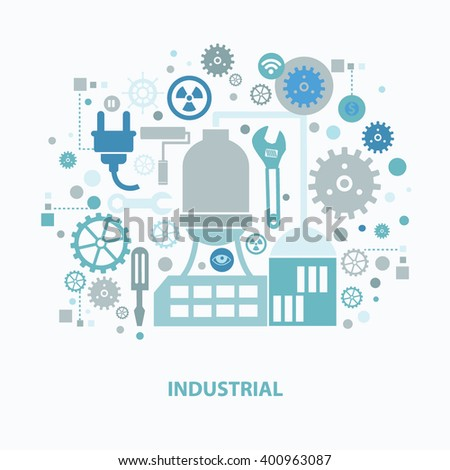 Industry concept design on clean background,vector