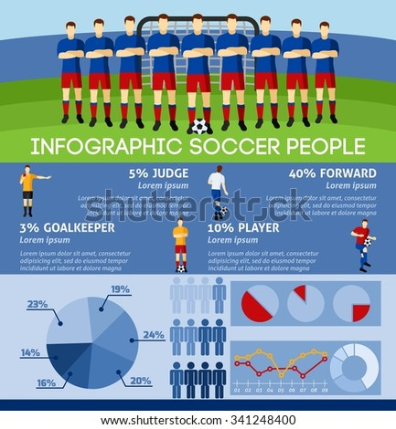 Infographic soccer with team players and gate background flat vector illustration. - stock vector
