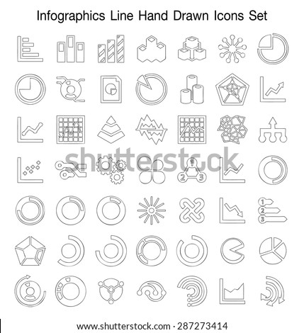 Infographics line Hand Drawn icon set - stock vector