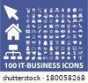 100 information technology business icons set, vector - stock vector