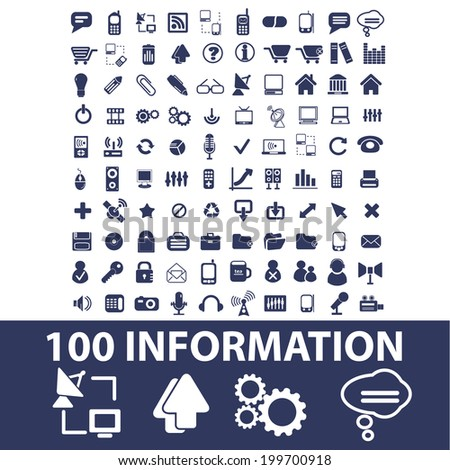 100 information, technology, internet icons, set vector