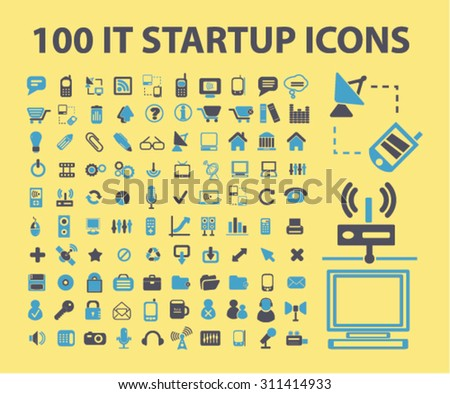 100 information technology, startup, business, marketing icons, signs, illustrations set, vector