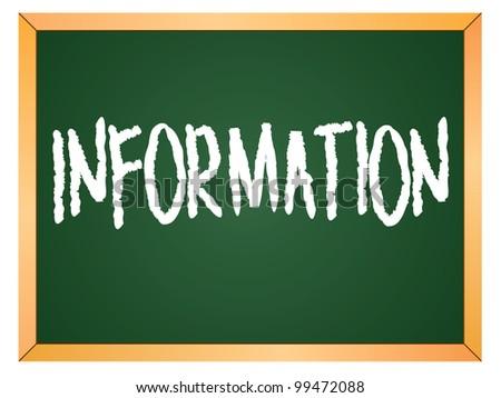 """""""information"""" word written on chalkboard - stock vector"""