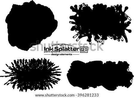 Ink splash design elements set. Isolated vector template