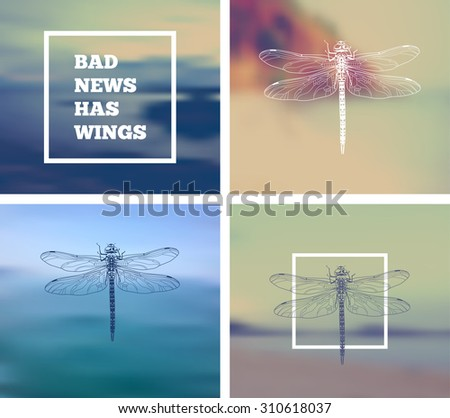 insect dragonfly with with a blurred background. Vector art.