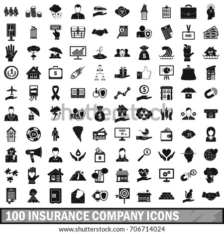 100 insurance company icons set in simple style for any design vector illustration