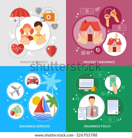 Insurance concept icons set with health property and insurance services symbols flat isolated vector illustration  - stock vector