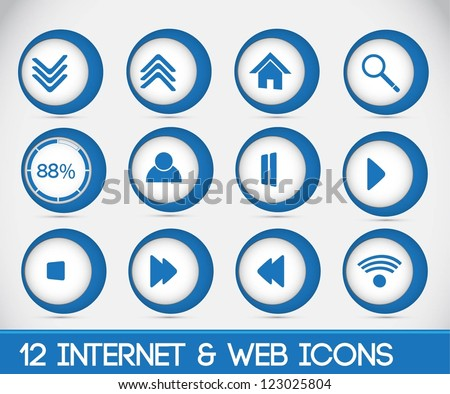 12 Interenet & Web Icons.Blue.Full Vector. Full Editable.Modern 3d icons.
