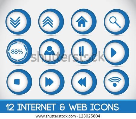 12 Interenet & Web Icons.Blue.Full Vector. Full Editable.Modern 3d icons. - stock vector
